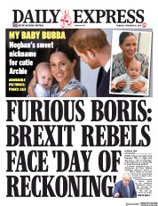 Daily Express (UK) Newspaper Front Page for 26 September 2019