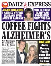 Daily Express (UK) Newspaper Front Page for 27 November 2014