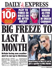 Daily Express (UK) Newspaper Front Page for 27 November 2017