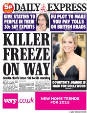 Daily Express (UK) Newspaper Front Page for 27 January 2015