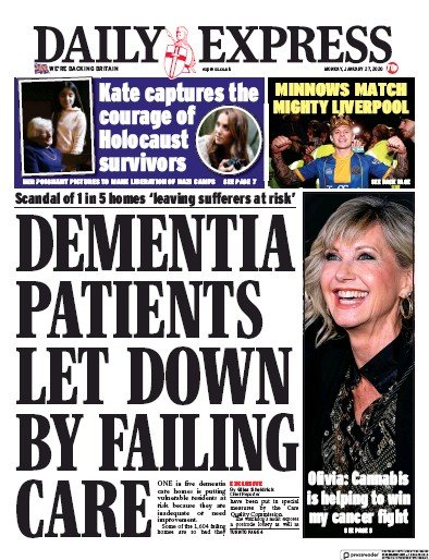 Daily Express Newspaper Front Page (UK) for 27 January 2020