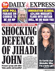 Daily Express (UK) Newspaper Front Page for 27 February 2015