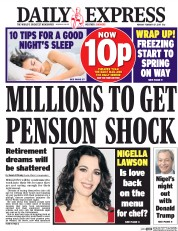 Daily Express (UK) Newspaper Front Page for 27 February 2017