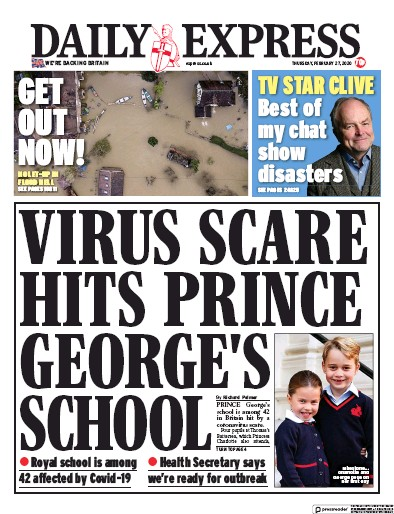 Daily Express Newspaper Front Page (UK) for 27 February 2020