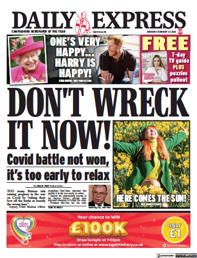 Daily Express Newspaper Front Page (UK) for 27 February 2021