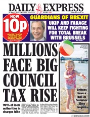 Daily Express (UK) Newspaper Front Page for 27 March 2017