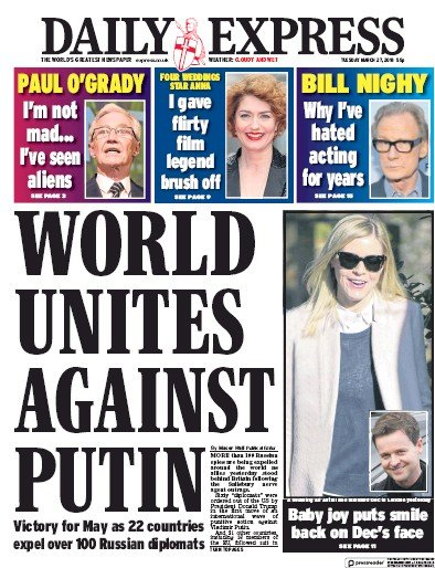 Image result for newspaper front pages for today tuesday 27 March 2018 global