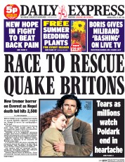 Daily Express (UK) Newspaper Front Page for 27 April 2015