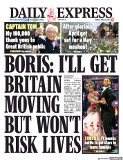 Daily Express (UK) Newspaper Front Page for 27 April 2020