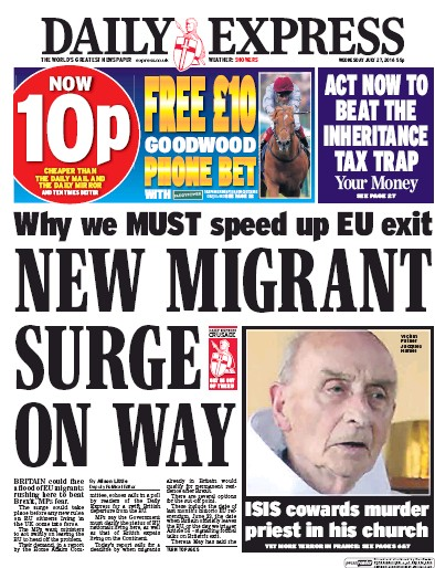 Daily Express (UK) Front Page for 27 July 2016   Paperboy ... Daily Express