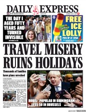 Daily Express (UK) Newspaper Front Page for 27 July 2019