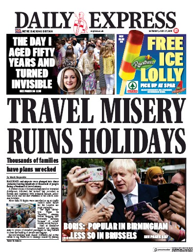 Daily Express Newspaper Front Page (UK) for 27 July 2019