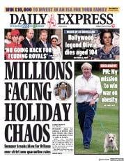 Daily Express front page for 27 July 2020