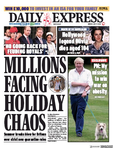 Daily Express Newspaper Front Page (UK) for 27 July 2020