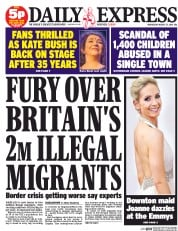 Daily Express (UK) Newspaper Front Page for 27 August 2014