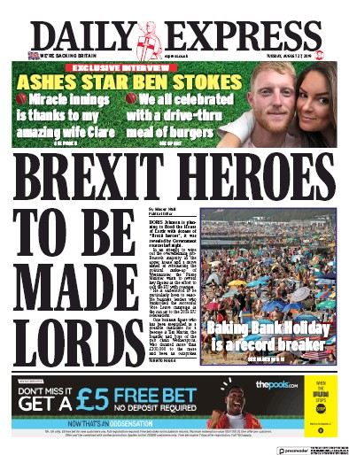 Daily Express Newspaper Front Page (UK) for 27 August 2019
