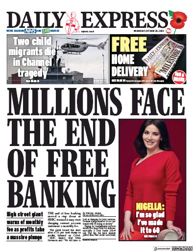 Daily Express Newspaper Front Page (UK) for 28 October 2020
