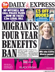Daily Express (UK) Newspaper Front Page for 28 November 2014