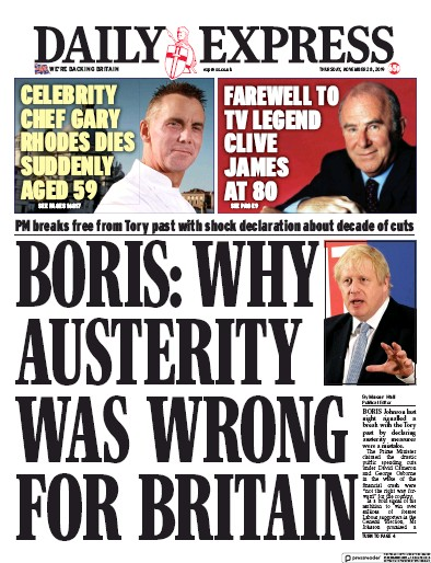 Daily Express Newspaper Front Page (UK) for 28 November 2019