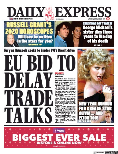 Daily Express Newspaper Front Page (UK) for 28 December 2019