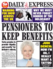 Daily Express (UK) Newspaper Front Page for 28 January 2015