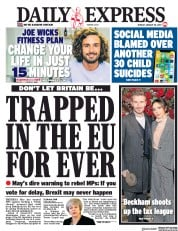 Daily Express (UK) Newspaper Front Page for 28 January 2019