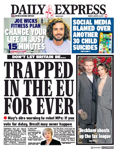 Daily Express Newspaper Front Page (UK) for 28 January 2019