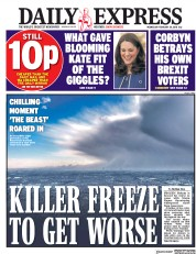 Daily Express (UK) Newspaper Front Page for 28 February 2018