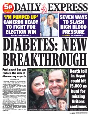 Daily Express (UK) Newspaper Front Page for 28 April 2015