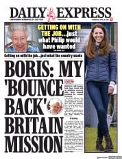 Daily Express front page for 28 April 2021
