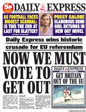 Daily Express (UK) Newspaper Front Page for 28 May 2015
