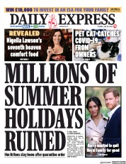 Daily Express front page for 28 July 2020