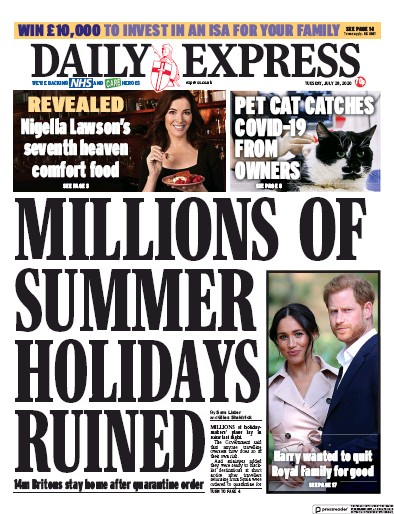 Daily Express Newspaper Front Page (UK) for 28 July 2020