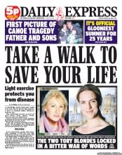 Daily Express Newspaper Front Page (UK) for 28 August 2012