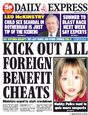 Daily Express (UK) Newspaper Front Page for 28 August 2014