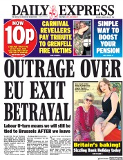 Daily Express (UK) Newspaper Front Page for 28 August 2017