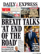 Daily Express (UK) Newspaper Front Page for 28 August 2020