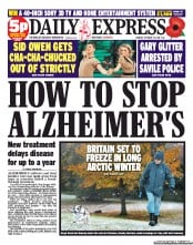 Daily Express Newspaper Front Page (UK) for 29 October 2012