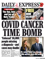 Daily Express (UK) Newspaper Front Page for 29 October 2020