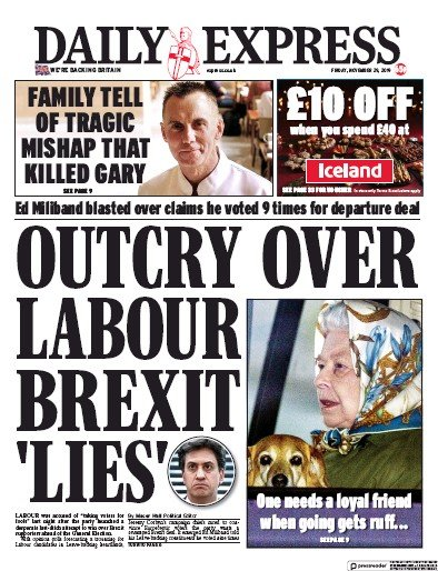 Daily Express Newspaper Front Page (UK) for 29 November 2019