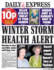 Daily Express (UK) Newspaper Front Page for 29 December 2017