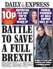 Daily Express (UK) Newspaper Front Page for 29 January 2018