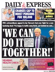 Daily Express (UK) Newspaper Front Page for 29 January 2019