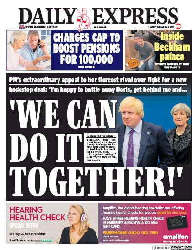 Daily Express Newspaper Front Page (UK) for 29 January 2019