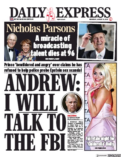 Daily Express Newspaper Front Page (UK) for 29 January 2020