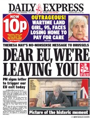 Daily Express (UK) Newspaper Front Page for 29 March 2017