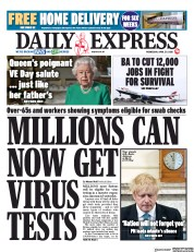 Daily Express (UK) Newspaper Front Page for 29 April 2020