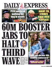 Daily Express front page for 29 April 2021