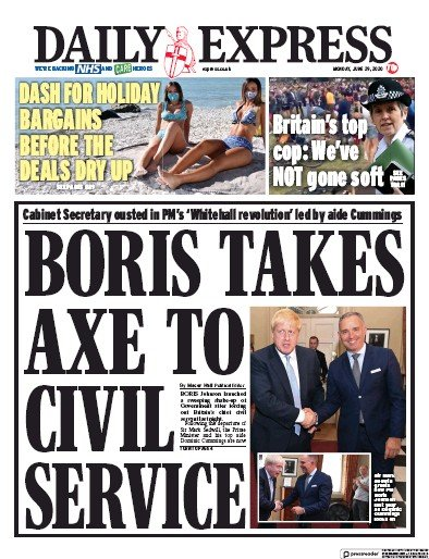 Daily Express Newspaper Front Page (UK) for 29 June 2020