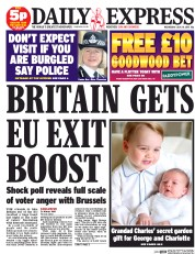 Daily Express (UK) Newspaper Front Page for 29 July 2015